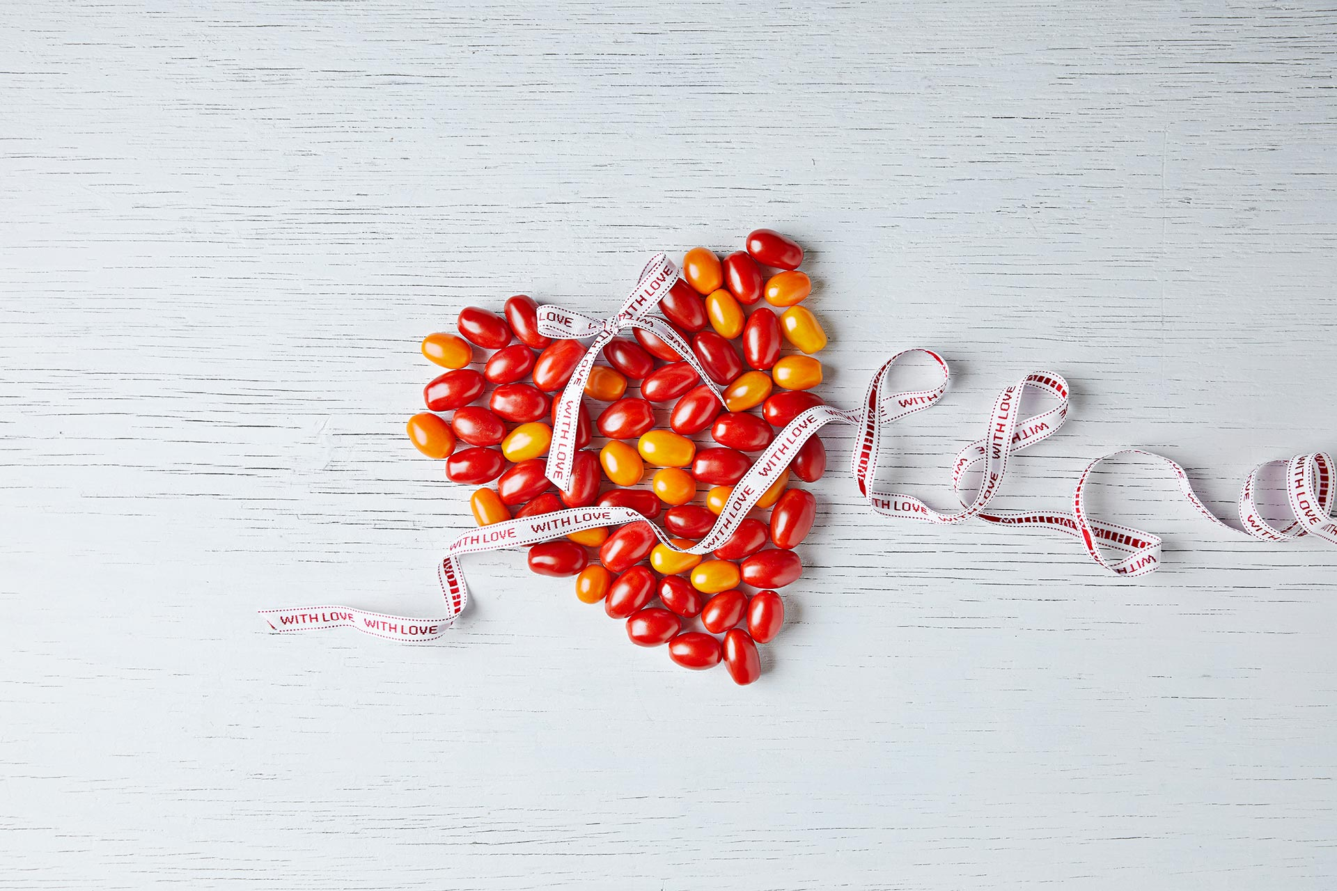 Heart made out of cherry tomatoes