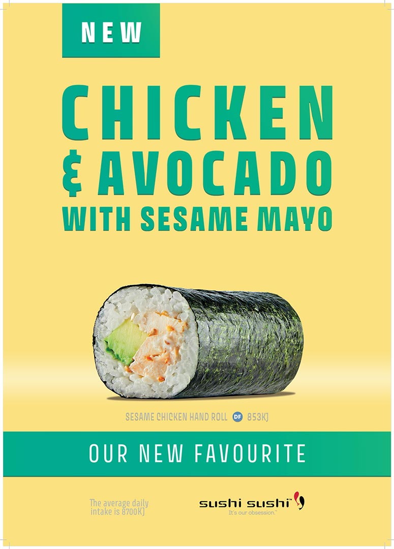 Sushi Chicken Avocado Sesame Hand roll Campaign