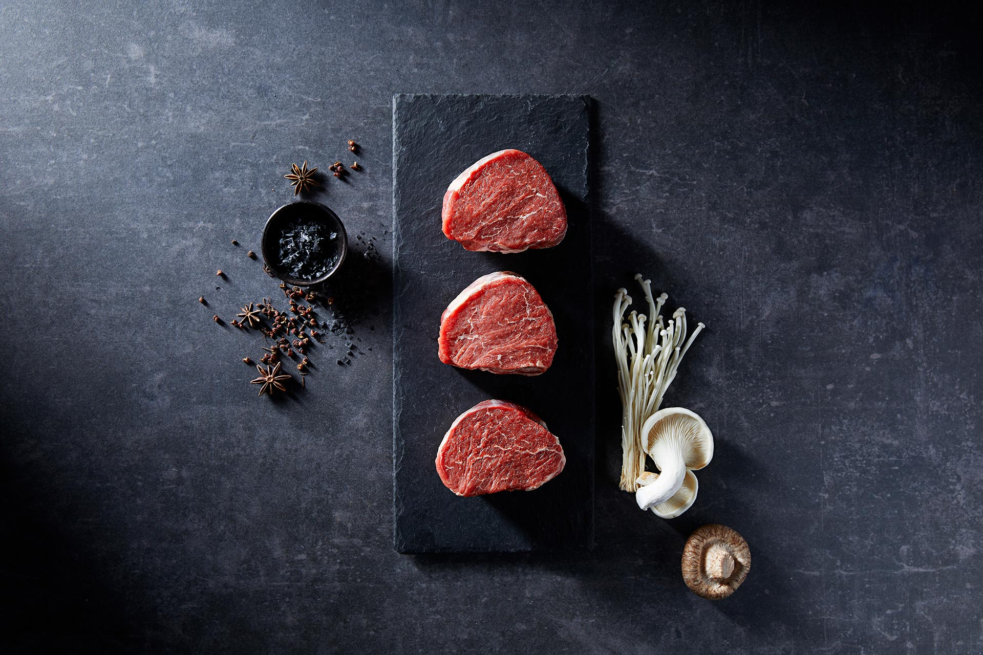 Taurindi Beef Cuts Eye Fillets on Slate