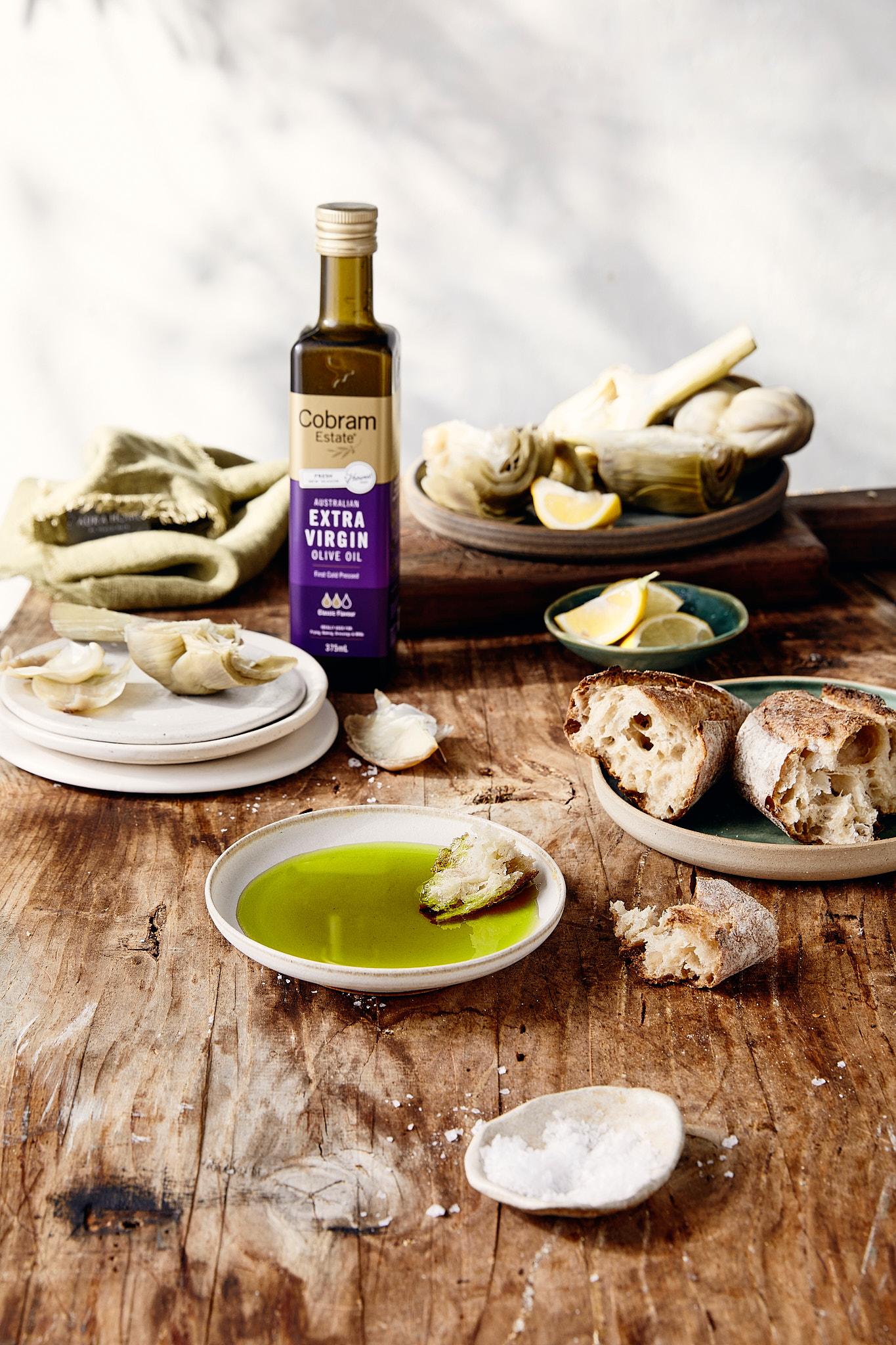 Cobram Extra virgin olive oil in bowl bread