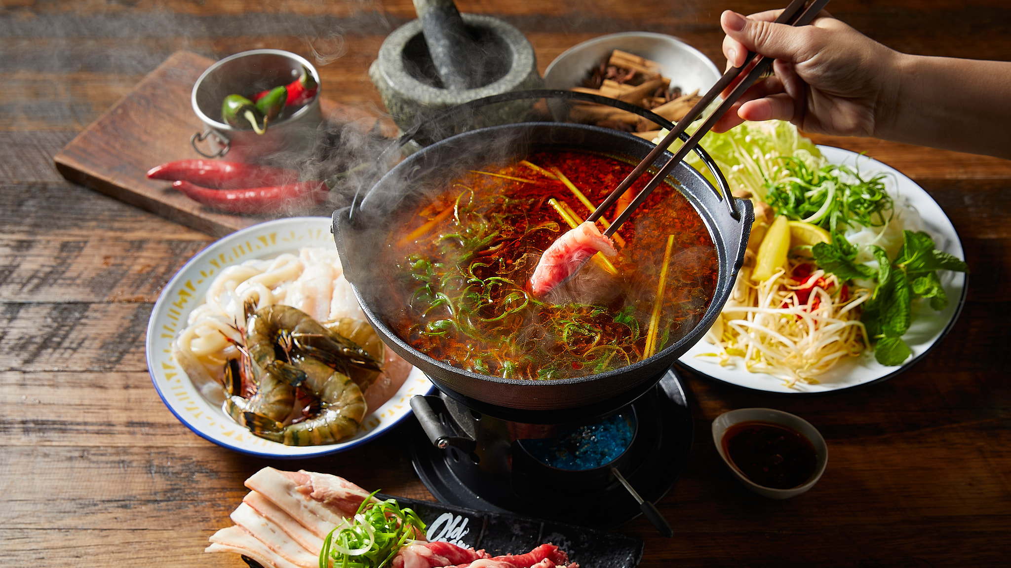 Old Man Pho Spicy Hot Pot Hand